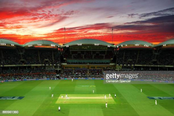 General view at sunset during day four of the Second Test match during the 2017/18 Ashes Series between Australia and England at Adelaide Oval on...