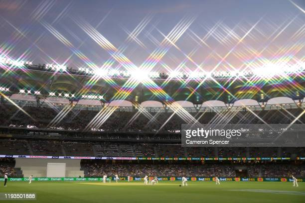 General view at sunset during day one of the First Test match between Australia and New Zealand at Optus Stadium on December 12, 2019 in Perth,...