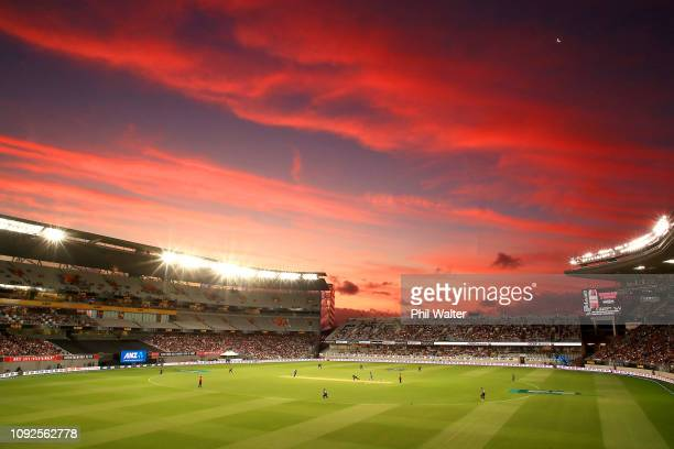 General view at sunset during the International Twenty20 match between New Zealand and Sri Lanka at Eden Park on January 11, 2019 in Auckland, New...