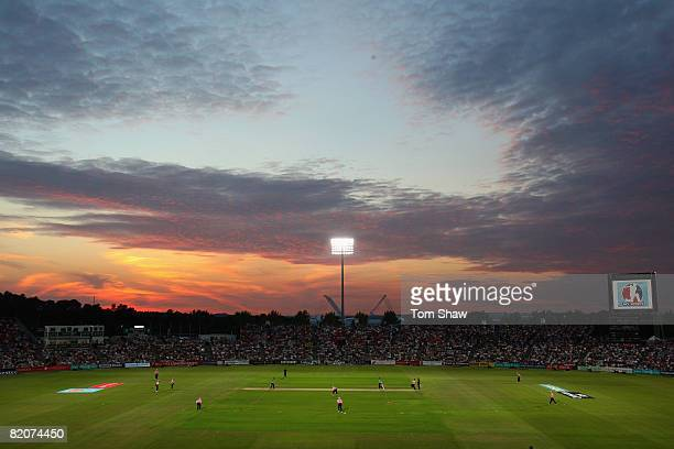 A general view at sunset during the Twenty20 Cup Final match between Kent and Middlesex at the Rosebowl on July 26 2008 in Southampton England