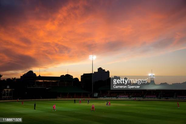 General view at sunset during the Women's Big Bash League match between the Hobart Hurricanes and the Sydney Sixers at North Sydney Oval on November...