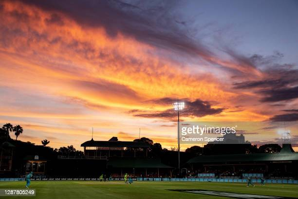 General view at sunset during the Women's Big Bash League WBBL Semi Final match between the Brisbane Heat and the Sydney Thunder at North Sydney...