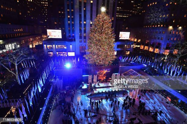 General view at the 87th Annual Rockefeller Center Christmas Tree Lighting Ceremony at Rockefeller Center on December 4, 2019 in New York City.