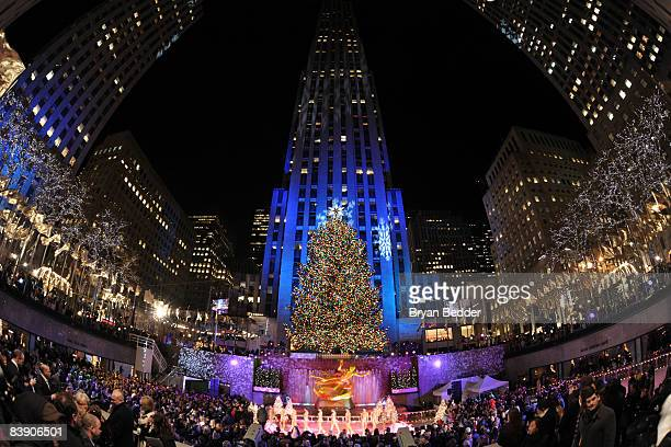A general view at the annual tree lighting ceremony and Christmas celebration at Rockefeller Center on December 3 2008 in New York City