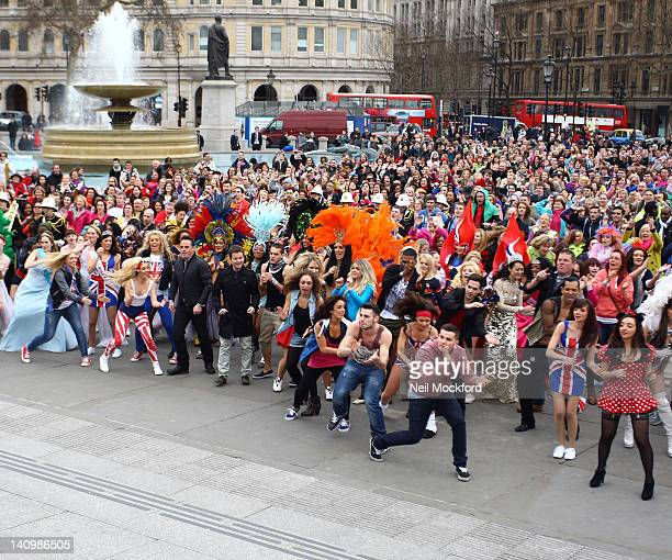 General view at the Britain's Got Talent Flashmob at Trafalgar Sq on March 9 2012 in London England