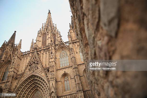 A general view at the Cathedral of the Holy Cross and Saint Eulalia also known as Barcelona Cathedral on July 17 2013 in Barcelona Spain