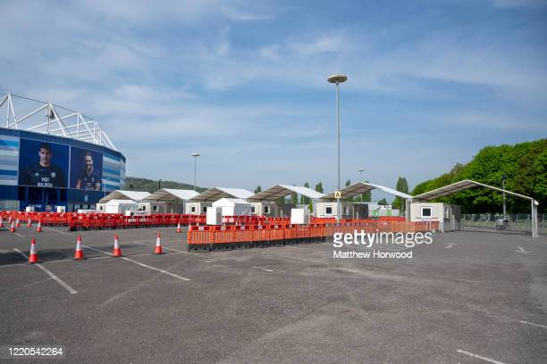 A general view at the coronavirus drivethrough testing centre at the Cardiff City stadium on April 23 2020 in Cardiff Wales It was announced earlier...