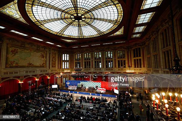 A general view at the draw during previews for the Davis Cup Tennis Final between France and Switzerland at the Place du Theatre on November 20 2014...