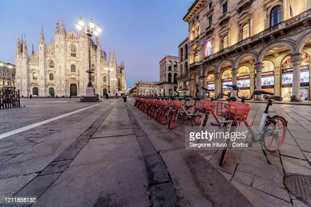 General view at the Duomo during the emergency coronavirus measures imposed by Italy to tackle the coronavirus outbreak on March 11 2020 in Milan...