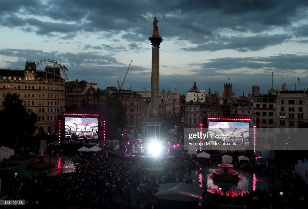 A general view at the F1 Live in London event at Trafalgar Square on July 12, 2017 in London, England. F1 Live London, the first time in Formula 1 history that all 10 teams come together outside of a race weekend to put on a show for the public in the heart of London.