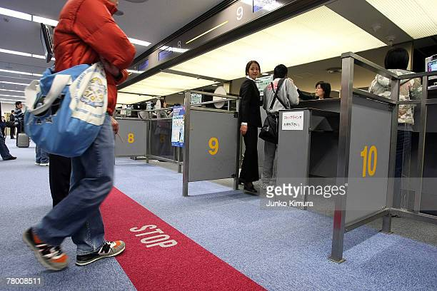 General view at the immigration at New Tokyo International Airport on November 20 2007 in Narita Chiba Japan Japan becomes the second nation after...