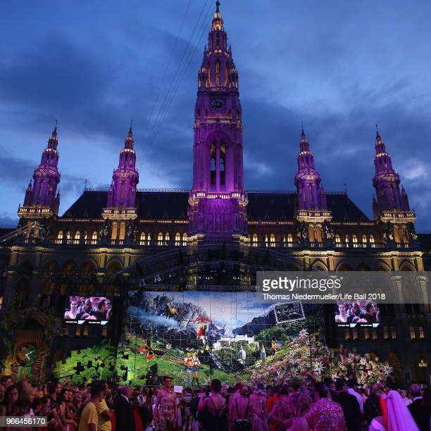A general view at the Life Ball 2018 at City Hall on June 2 2018 in Vienna Austria The Life Ball an annual charity event raising funds for HIV AIDS...