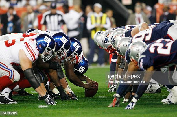 A general view at the line of scrimmage before the snap during Super Bowl XLII between the New York Giants and the New England Patriots on February 3...