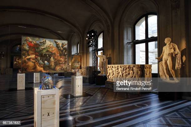 A general view at the LVxKOONS exhibition at Musee du Louvre on April 11 2017 in Paris France