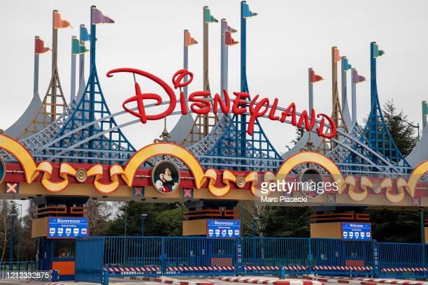 General view at the main entrance of Disneyland Paris resort and parks as Disneyland Paris joins Disney parks closures amid coronavirus concerns on...