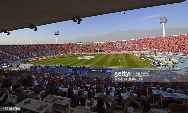 General view at the Nacional stadium before the start of the 2015 Copa America football championship final Argentina vs Chile in Santiago Chile on...