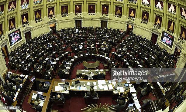 General view at the National Congress while representatives discuss the approval of the bill on sovereign payment of the debt submitted by Argentine...