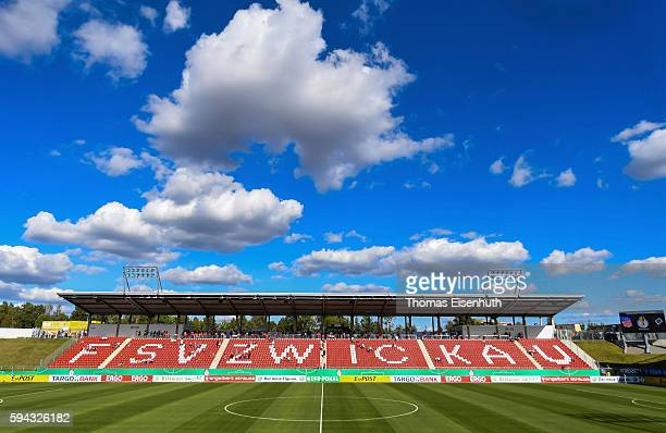 General view at the new stadium in Zwickau prior the DFB Cup match between FSV Zwickau and Hamburger SV at Stadion Zwickau on August 22, 2016 in...