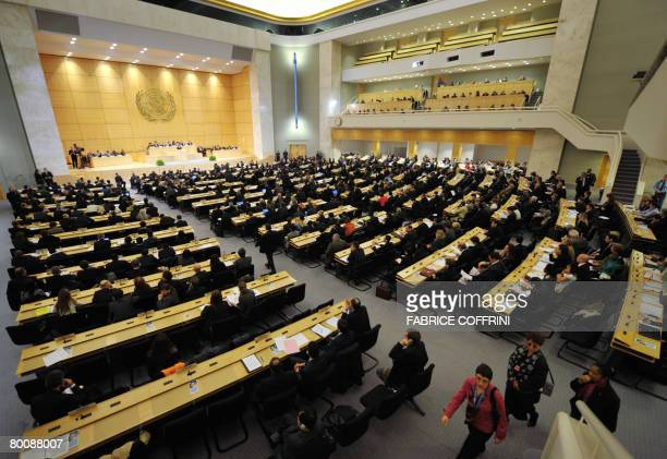 General view at the opening day of a UN Human Rights Council session on March 3 2008 at UN offices in Geneva United Nations Secretary General Ban...