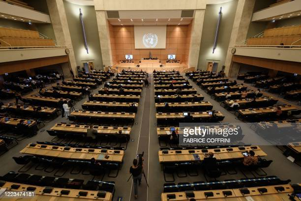 General view at the opening of the UN Human Rights Council's 44th session on June 30 2020 in Geneva Hong Kong's chief executive defended China's...