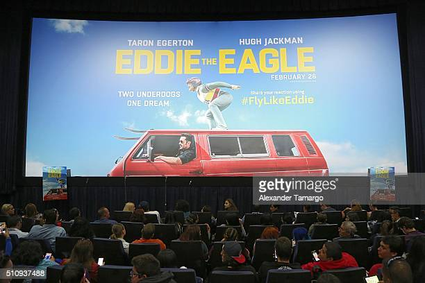 General view at the premiere of the film Eddie the Eagle at Regal South Beach on February 17 2016 in Miami Beach Florida
