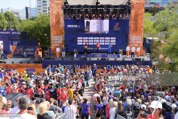 general view at the presentation ceremony during day six of the 24th European athleteics Championships at Olympiastadion on August 12 2018 in Berlin...
