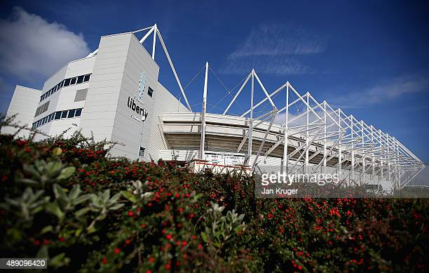 A general view at the stadium prior to the Barclays Premier League match between Swansea City and Everton at the Liberty Stadium on September 19 2015...