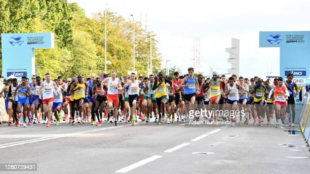General view at the start as runners compete in the men's final run during the World Athletics Half Marathon Championships on October 17, 2020 in...