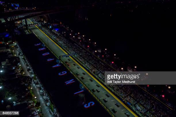 A general view at the start during the Formula One Grand Prix of Singapore at Marina Bay Street Circuit on September 17 2017 in Singapore