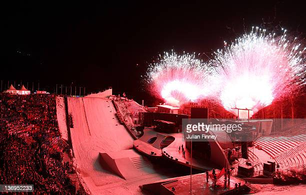 A general view at the start of the Winter Youth Olympic Games Opening Ceremony at the Bergisel Stadium on January 13 2012 in Innsbruck Austria