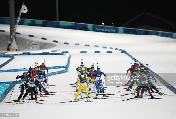 A general view at the start of the Women's 125km Mass Start Biathlon on day eight of the PyeongChang 2018 Winter Olympic Games at Alpensia Biathlon...