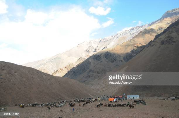 General view at the Tringeras de Soler refuge in the framework of the bicentenary of Cruce de los Andes 2017 in the province of San Juan Argentina on...