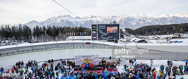 A general view at the victory ceremony during the second day of the FILWorld Championships at Olympiabobbahn Igls on January 28 2017 in Innsbruck...