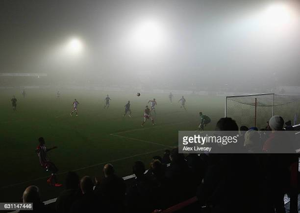 A general view at the Wham Stadium is seen through the fog during the Emirates FA Cup Third Round match between Accrington Stanley and Luton Town at...