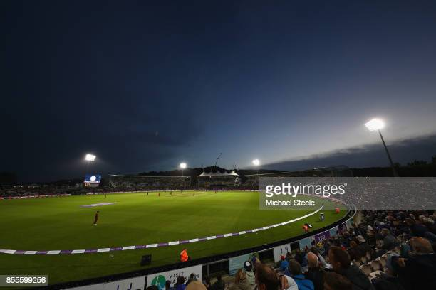 General view at twighlight during the 5th Royal London One Day International match between England and West Indies at the Ageas Bowl on September 29...