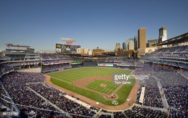 General view at twilight of the Minneapolis skyline during an MLB game between the Cleveland Indians and the Minnesota Twins at Target Field on April...