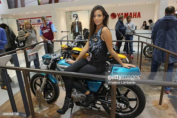 A general view at Yamaha booth during the EICMA 2014 72nd International Motorcycle Exhibition at Fiera Milano on November 4 2014 in Milan Italy