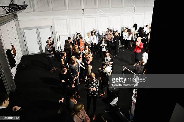 A general view backstage ahead of the Agne Kuzmickaite Igrida Zabere Kaetlin Kaljuvee Autumn/Winter 2013/14 fashion show during MercedesBenz Fashion...