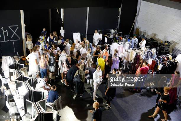 A general view backstage ahead of the AMD Exit17_2 show during Platform Fashion July 2017 at Areal Boehler on July 23 2017 in Duesseldorf Germany