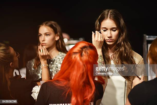 General view backstage ahead of the 'Designer for Tomorrow' show during the MercedesBenz Fashion Week Berlin Spring/Summer 2017 at Erika Hess...