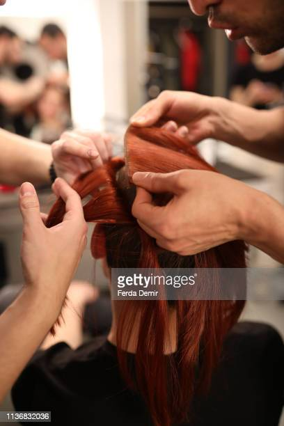 A general view backstage ahead the Guntas show during MercedesBenz Istanbul Fashion Week at the Zorlu Performance Hall on March 19 2019 in Istanbul...