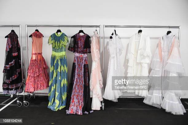 A general view backstage at the Bora Aksu Show during London Fashion Week September 2018 at The BFC Show Space on September 14 2018 in London England