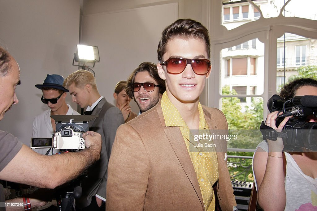 General view backstage before the Francesco Smalto Menswear Spring/Summer 2014 Show As Part Of The Paris Fashion Week on June 29, 2013 in Paris, France.