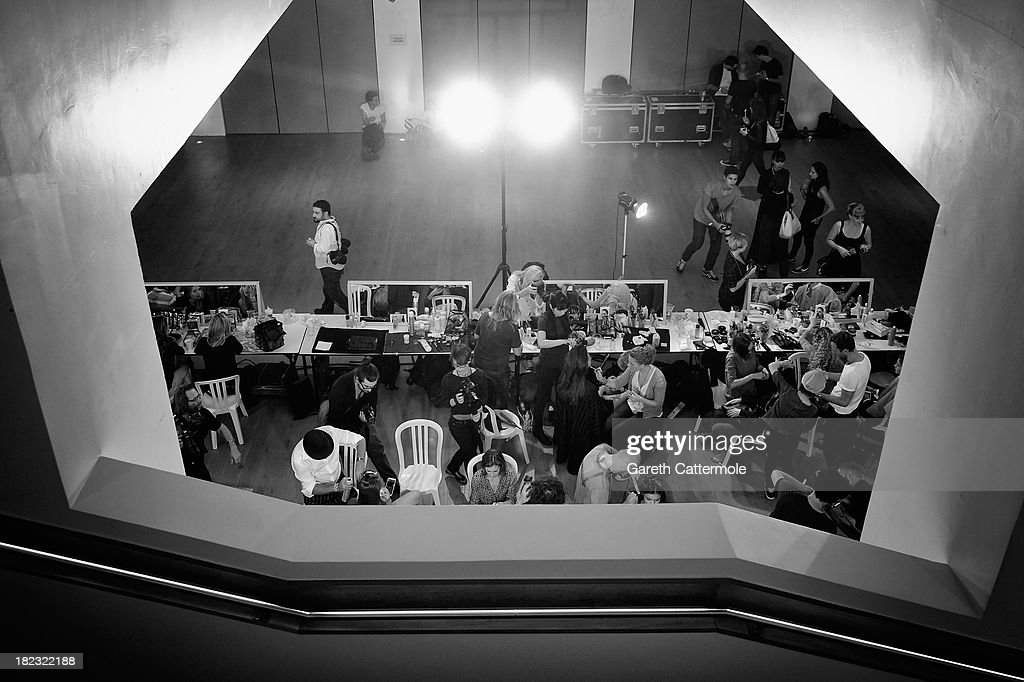 A general view backstage before the John Galliano show as part of Paris Fashion Week Womenswear Spring/Summer 2014 on September 29, 2013 in Paris, France.