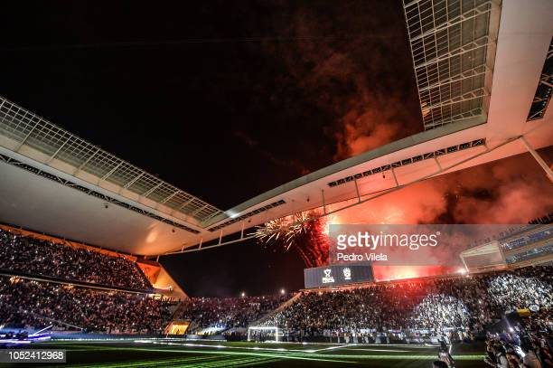 General view before a match between Corinthians and Cruzeiro as part of Copa do Brasil 2018 Finals at Arena Corinthians stadium on October 17 2018 in...