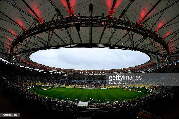 General view before a match between Flamengo and Fluminense as part of Brasileirao Series A 2014 at Maracana Stadium on September 21 2014 in Rio de...