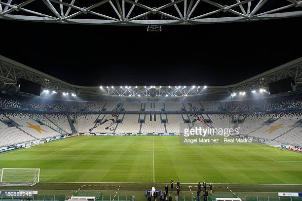 A general view before a Real Madrid training training session ahead of their UEFA Champions League Group B match against Juventus at Juventus Arena...