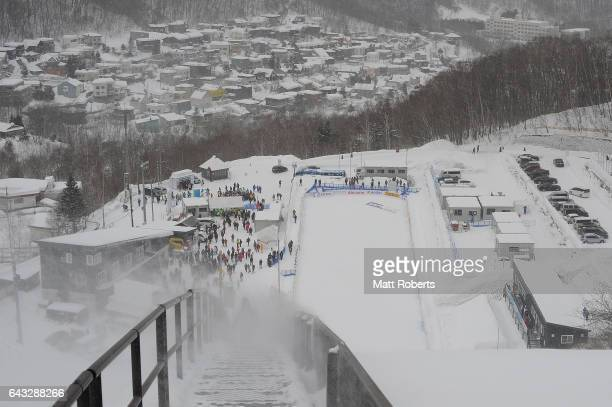 A general view before competition was cancelled for the day in Ski Jumping Men's Normal Hill Individual on day four of the 2017 Sapporo Asian Winter...