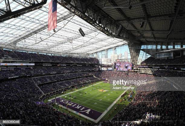 A general view before of the game between the Baltimore Ravens and the Minnesota Vikings on October 22 2017 at US Bank Stadium in Minneapolis...