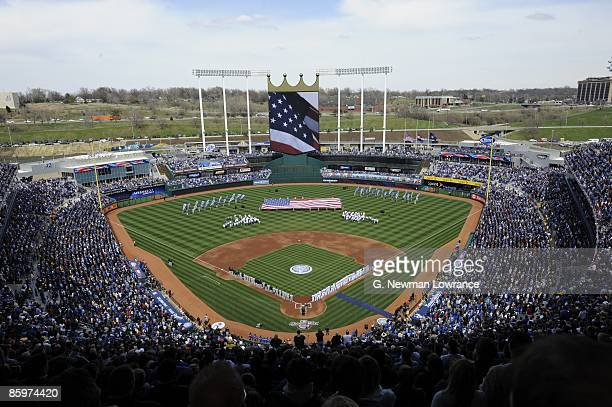 General view before the New York Yankees game against the Kansas City Royals on April 10 2009 at Kauffman Stadium in Kansas City Missouri The Yankees...